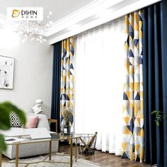 DIHIN HOME Neat Triangle Printed Blackout Grommet Window Curtain for Living Room 1 Panel curtain dihin grommet home living neat panel printedblackout room triangle window Living Room Decor Curtains, Home Curtains, Modern Curtains, Living Room Windows, Curtain Ideas For Living Room, Curtains For Windows, Curtains With Sheers, How To Hang Curtains, Navy Blue Curtains