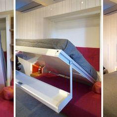 Maximize space with fold-out bed maximizing small spaces: Murphy bed design Murphy Bed Desk, Murphy Bed Plans, Maximize Small Space, Small Spaces, Small Room Design, Bed Design, House Design, Junior Loft Beds, John Hill