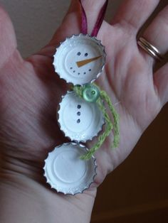 Bottle Cap Snowman (I might try doing this with plastic bottle caps since they're all too abundant and, apparently, not as readily recyclable as other plastics.  I'm always looking for ways to reuse them...~K)