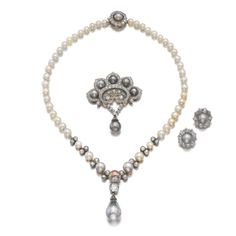 Natural pearl and diamond parure, late 19th century | Lot | Sotheby's
