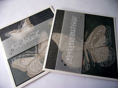 handmade cards from LISA`SaRT: Alexandra Renke ... sophisticated papers ... butterflies ... black and white with taupe ...