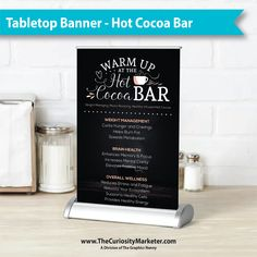 Be the talk of the town at your next event with this eye-catching tabletop banner! Retractable Banner, Hot Cocoa Bar, Tabletop, Retractable Banner Stands, Table, Countertop