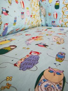 Spotted Owl Custom baby bedding 3 piece patchwork bumper