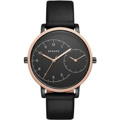 Skagen Women's Automatic Black Leather Strap Watch 36mm SKW2475 ($195) ❤ liked on Polyvore featuring jewelry, watches, black, skagen watches, skagen, skagen wrist watch and skagen jewelry