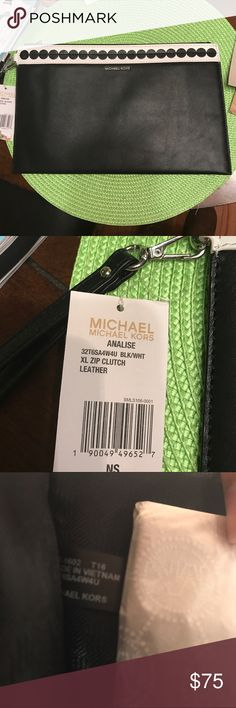 🆕 Michael Kors Analise XL Zipper Leather Clutch New with tags MICHAEL Michael Kors Bags Clutches & Wristlets
