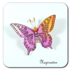 MAGNET PAPILLON SOIE ROSE ORANGE - MILA - Boutique www.magicreation.fr