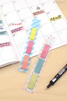 Use Sun-Star Sralit Page Markers to mark planner pages and notes. They come in a slim case that clips to your notebook.