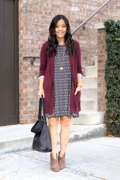 8 Fall Outfit Formulas + Tons of Stuff Still on Sale + An Update on the Style Challenge (Putting Me Together) Cardigan Outfits, Dress With Cardigan, Maroon Dress Outfit, Burgundy Cardigan, Comfortable Fall Outfits, Chambray, Celebridades Fashion, Work Fashion, Fashion Outfits