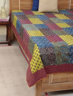 Maroon-Blue Ajrakh-Printed Kantha-Embroidered Cotton Double Bed Cover with Patchwork Double Bed Covers, Double Beds, Cotton Bedding, Linen Bedding, Quilted Wall Hangings, Thread Work, Embroidery Hoop Art, Fabric Scraps, Blue Yellow