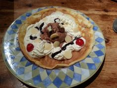 Pancake with extra white choc buttons on