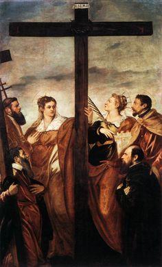 Tintoretto (Jacopo Robusti) ~ Saints Helen and Barbara Adoring the Cross, c.1550s