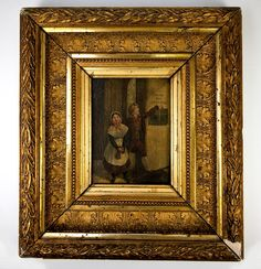 """Antique French Miniature Oil Painting, c.1830 Children by the """"Poor Box"""", Church Stained Glass in View, 12"""" x 10.75"""" Frame"""