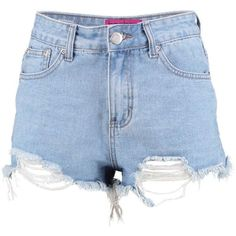 Boohoo Blue Emma Extreme Frayed Low Rise Denim Hot Pants ($26) ❤ liked on Polyvore featuring shorts, micro shorts, micro denim shorts, flat-front shorts, denim hot pants and sequin shorts