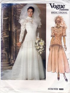Vintage Vogue wedding dress pattern, princess seams, dropped waist, full skirt with train. Button loop back Bridal gown pattern 1660 Vintage Vogue, Vintage Sewing, Vintage Dress, Vintage Patterns, Vintage Clothing, Vintage Fashion, Bridal Dresses, Wedding Gowns, Bridesmaid Dresses