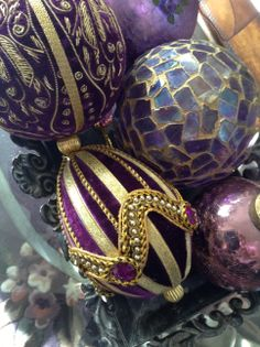My beautiful purple Christmas ornaments looking gorgeous on a tray.