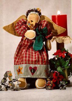 Gingerbread Angel Fabric Soft Doll Pattern, Christmas Angel