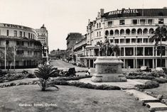 Gardiner Street and Esplanade with Dick King monument - old Durban