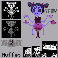Muffet and her pet. The concept and finished character aren't but it's definitely still helpful in interpreting her design Muffet Undertale, Sad Comics, Cool Monsters, Skullgirls, Character Modeling, Homestuck, Fantastic Beasts, Cartoon Characters, Really Cool Stuff