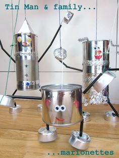 Mommy, Daddy, Baby...Craft a complete tin family of marionettes.