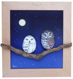 A unique piece of art! A 3-D frame made with rock painted owls, acrylic on panel…