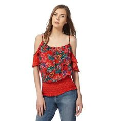 This printed top from Red Herring will introduce bold prints to an off-duty wardrobe. A vibrant design, it presents a multi-tonal floral print in a cold shoulder style with straps and an elasticated hem. Bold Prints, Floral Prints, Red Herring, Debenhams, Off Duty, Lady In Red, Cold Shoulder, Tropical, Fashion Trends