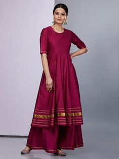 Maroon Silk Kurta with Pants - Set of 2 Shrug For Dresses, Indian Gowns Dresses, The Dress, Kurti Designs Party Wear, Kurta Designs, Indian Attire, Indian Outfits, Ethnic Outfits, Indian Designer Outfits