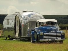 vintage chevy truck and vintage airstream...life is good!