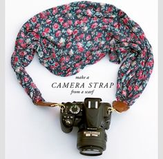 Camera strap with a scarf