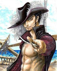 Dracule Mihawk,Shichibukai - One Piece,Anime Manga Anime, Anime Guys, Anime Art, Roronoa Zoro, One Piece Merchandise, Samurai, Anime One Piece, Best Anime Shows, The Pirate King