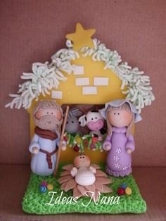 Polymer clay - Nativity Fimo Clay, Polymer Clay Projects, Clay Crafts, Christmas Figurines, Christmas Nativity, Polymer Clay Christmas, Biscuit, Nativity Crafts, Cute Clay