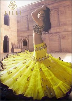 Yellow lehenga w/ antique embroidery KalkiFashion.com 2014 Rs 77,940
