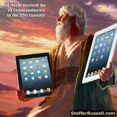 Moses receiving his iPads. An oldie but goodie. I actually doctored the cover of this famous Biblical magazine myself! #tablets #ipad #Apple #Moses #Bible #Humour #JW #Watchtower