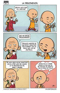 ZEN TOONS 011: La Desconexión. Historieta creada por: Daniel Lopez de Medrano. Episodio basado en un cuento original del autor. #zentoons #webcomics #zencomics #cuentoszen #historiaszen #zenpencil #espiritualidad #zen #budismo