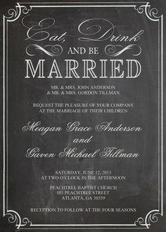 Shabby Chic Vintage Chalkboard Wedding Invitation Birthday Party Bridal or Baby Shower Sign Digital