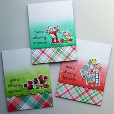 """Three cards using one stamp set: The """"Cheery Christmas"""" stamp set from """"Lawn Fawn""""."""