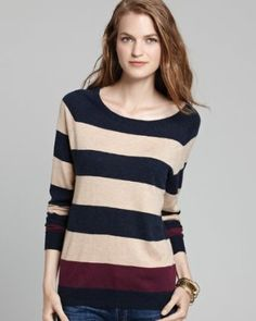 Joie Kaliah Sweater in Heather Midnight Stripe Girl Fashion, Fashion Looks, Hands On Hips, Bold Stripes, Pullover Sweaters, Sweaters For Women, Blouse, Anatomy, Shopping