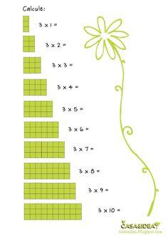 olha outra coisa para entrender a tabuada CASA&IDEA: Matemática - 2o ano - Tabuada de 3 - Série: Apoio de ensino em casa