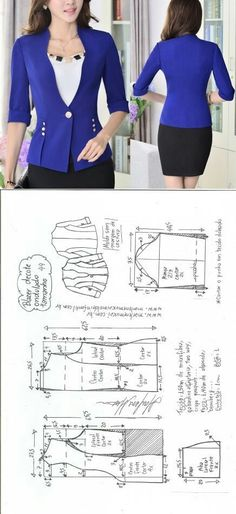 Sewing Ideas Blazer wavy Deniz - Visite o post para mais. Coat Patterns, Sewing Patterns Free, Clothing Patterns, Dress Patterns, Sewing Ideas, Make Your Own Clothes, Diy Clothes, Clothes For Women, Blazer Pattern