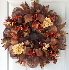 Chocolate Brown and Copper Metallic Fall Floral Deco Mesh Wreath | eBay