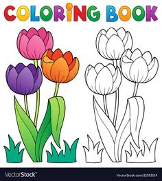 Coloring book with flower theme 4 vector Toddler Coloring Book, Coloring Pages For Kids, Coloring Books, Art Drawings For Kids, Drawing For Kids, Easy Drawings, Kids Art Class, Art For Kids, Simple Pictures