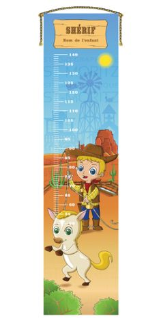 Personalized growth charts for kids, Cowboy / Sheriff. Printed on banner 3mm. Échelle de croissance personnalisé, Cowboy / Sheriff. Sur bannière 3mm.