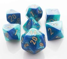 Gemini Dice (Blue and Teal) RPG Role Playing Game Dice Set