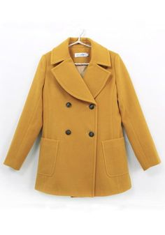 Earth Yellow Double Breasted Fitted Wool Coat