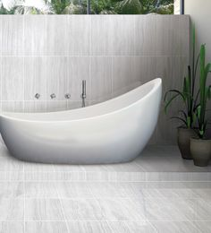 Elegance and refinement are what's in store with this porcelain offered in a x rectified matte finish in five colours. Decoration, Master Bath, Bathtub, Velvet, Colours, Organization, Bathroom, Condo, Design