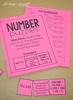 FREE math centers for launching math centers, including this number puzzles center. Math Resources, Math Activities, Math Games, Math School, Third Grade Math, Fourth Grade, Math Intervention, Free Math, Guided Math