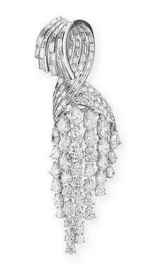 ATTRACTIVE DIAMOND BROOCH, STERLE, 1950S - Sothebys
