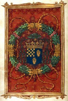 """Coat of arms of a bishop in the Potier de La Morandière family, added later (f. Prelim). """"Ordo dedicationis ecclesiae et altaris"""", ca 1525, Rouen? (France) [Harvard University, Houghton Library. MS Typ 028] -- d'azur, à trois mains d'or, au franc-quartier échiqueté d'argent et d'azur. (?devise DEXTERA DOMINI FECIT VIRTUTEM)"""