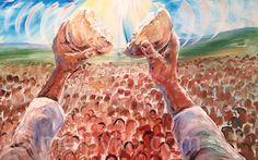 """Jesus Feeding The 5000 by Melani Pyke Acrylic ~ 24"""" x 36"""""""