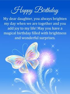 Send Free Magical Butterfly Happy Birthday Card for Daughter to Loved Ones on Birthday & Greeting Cards by Davia. It's 100% free, and you also can use your own customized birthday calendar and birthday reminders.