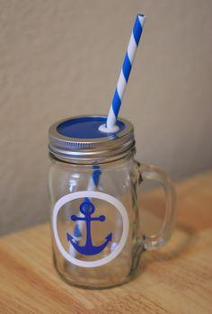 Personalized Glass Jar Tumbler MUG Set // 16oz. // Anchor Design // BPA Free Straw // Colored Lid on Etsy, $17.50